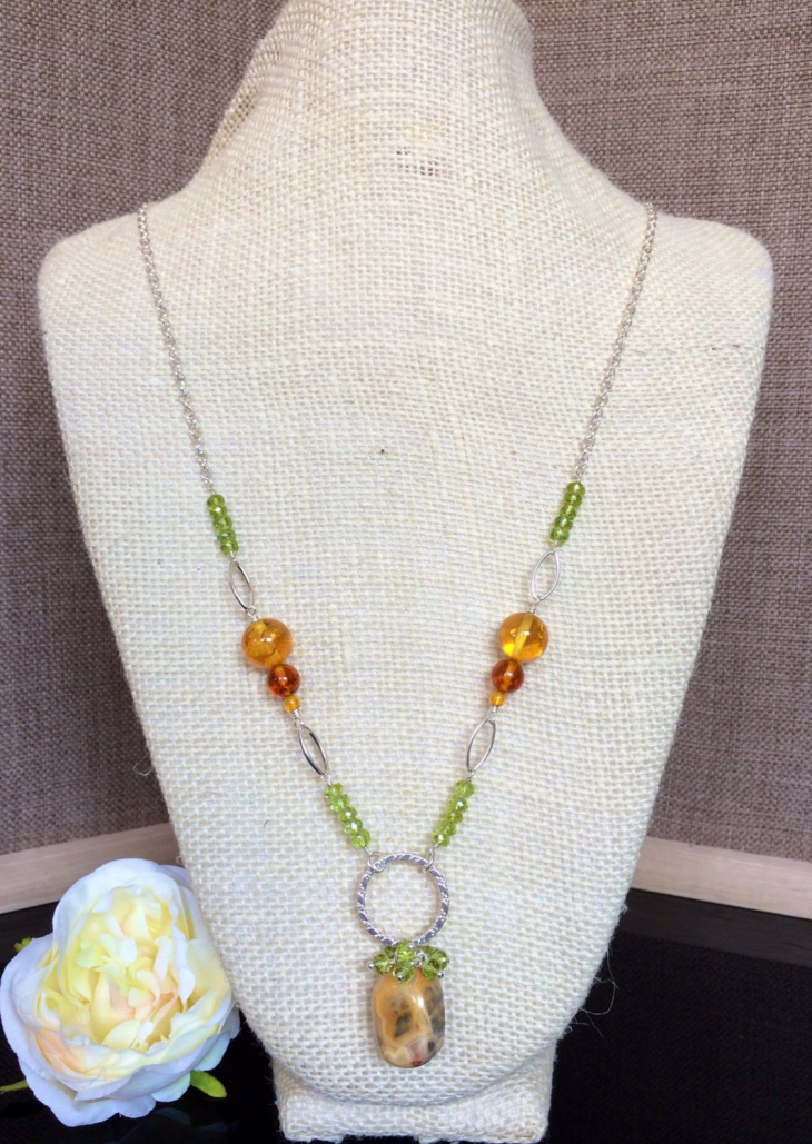 Agate and Peridot Necklace