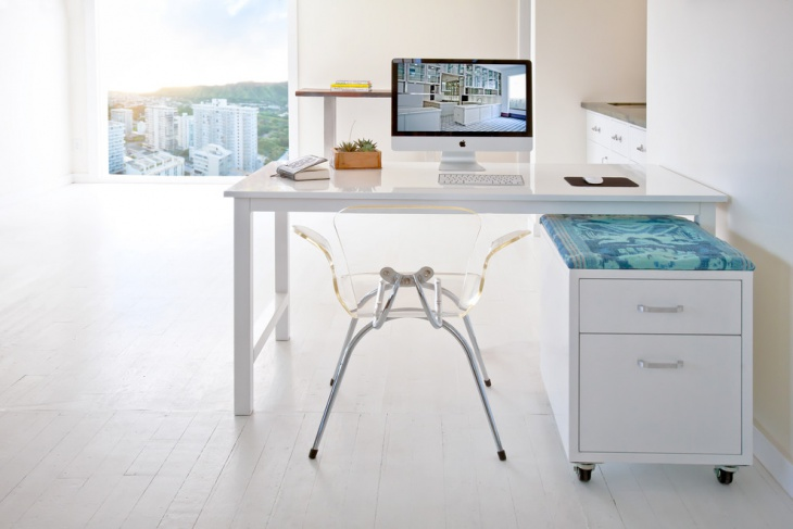 white computer desk with glass chair