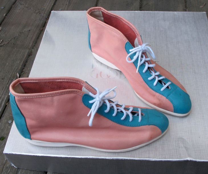 Coral Pink and Aqua Leather Shoes