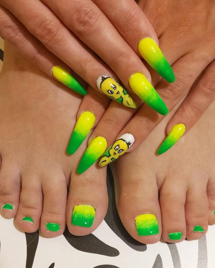 gel tweety nail design