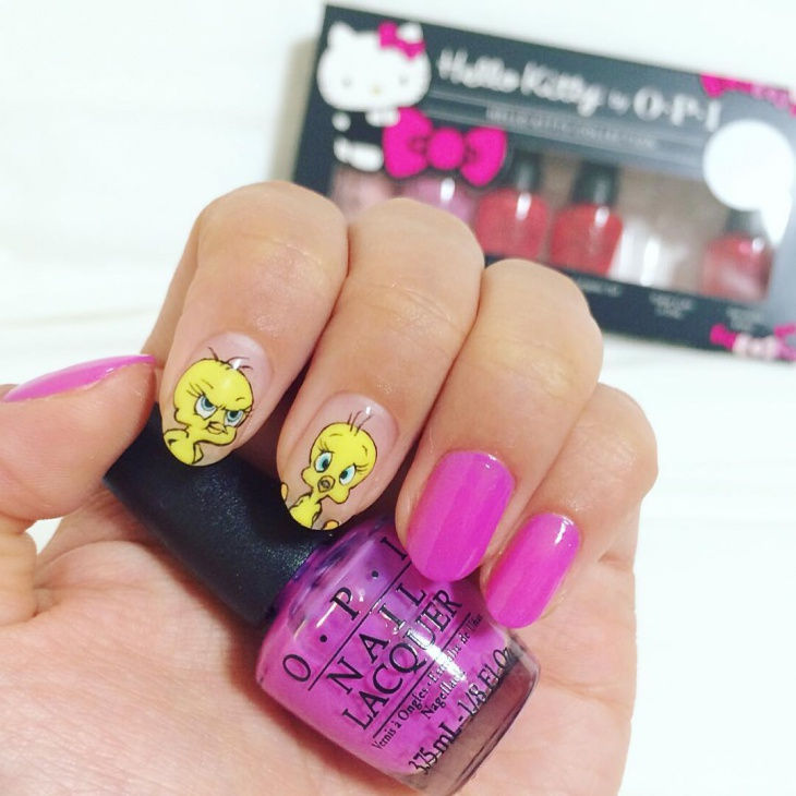 yellow and pink tweety nails