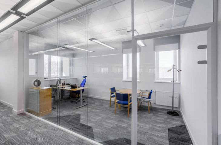 gray flooring office partition
