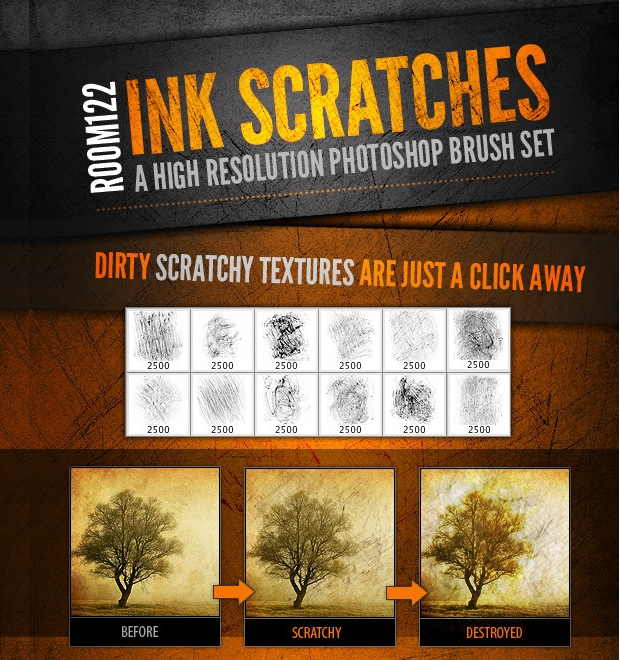 Photoshop Ink Scratch Brushes