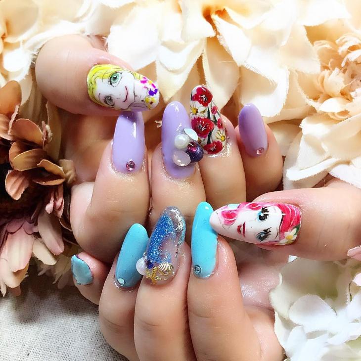 gel aquarium nail design
