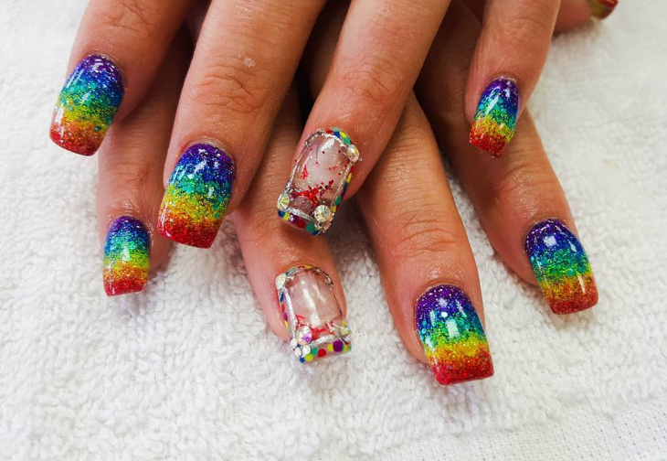 colorful aquarium nail art idea