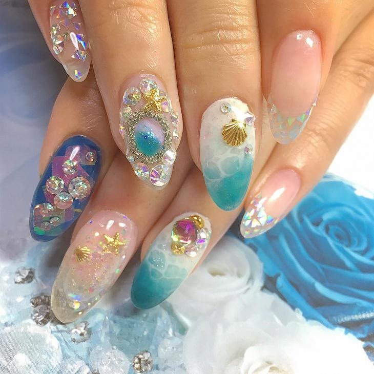 Blue Aquarium Nail Art Design