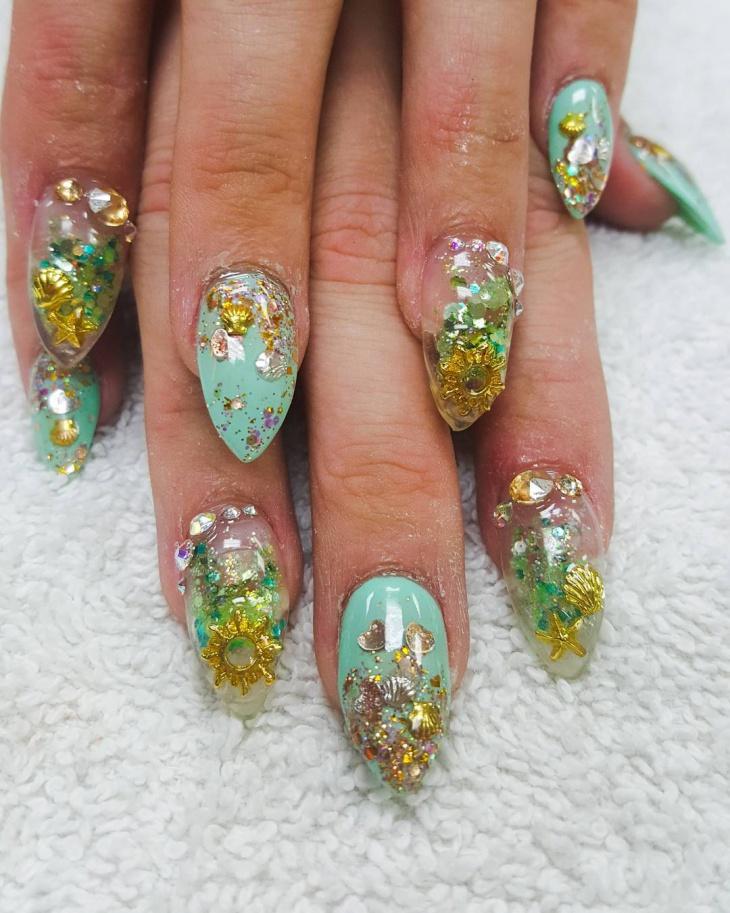 glitter fish nail design idea