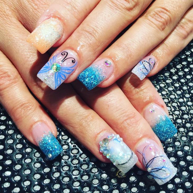 Blue Glitter Nail Art Design