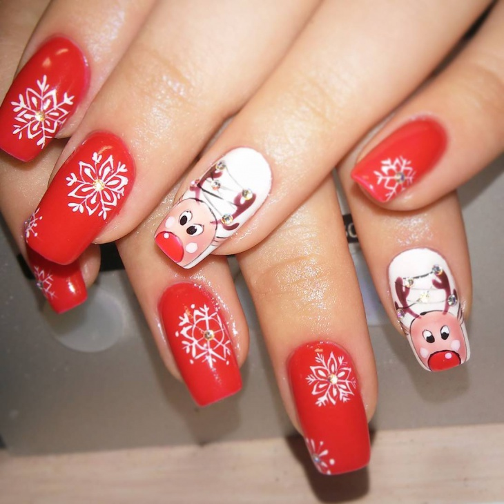 Cute Red and White Nail Art