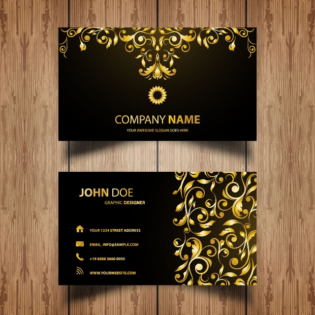 golden floral business card