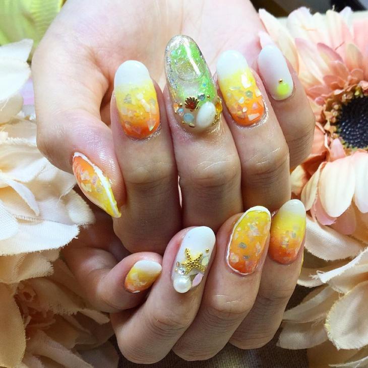 aquarium nail art for long nails