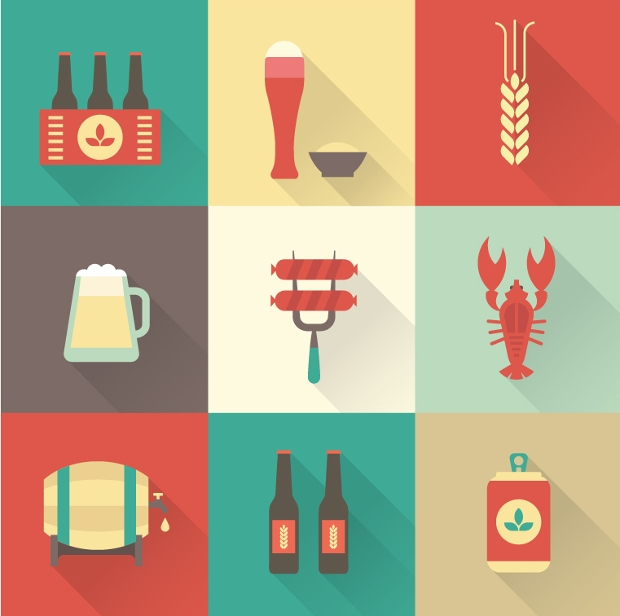 Colorful Beer Icons Set