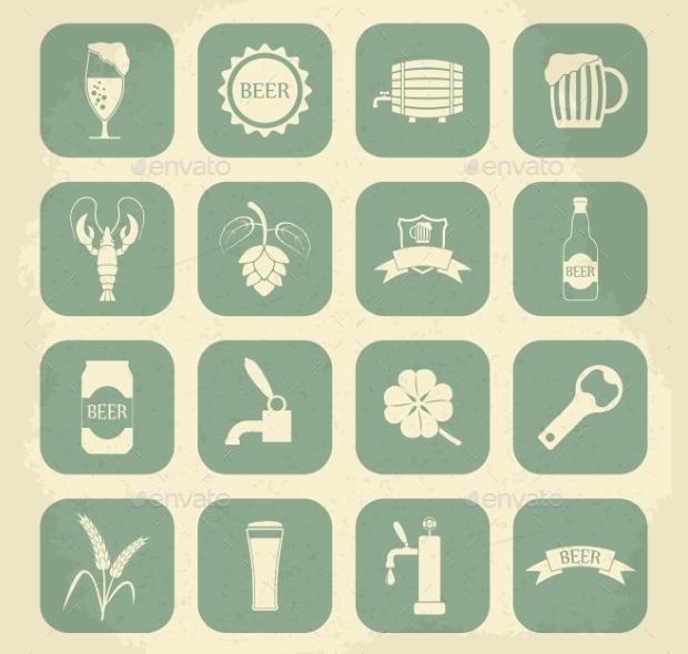 Retro Beer Icons Set