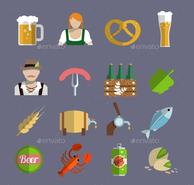 flat beer vector icons