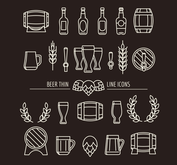 Beer Thin Line Icons