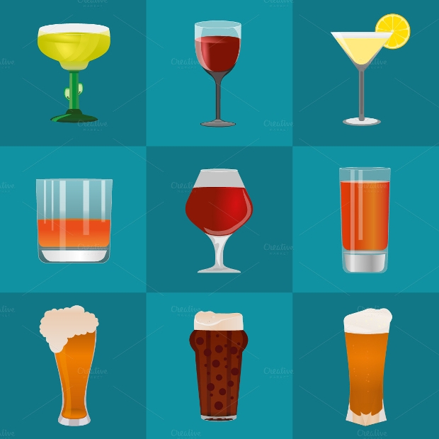 alchol and beer icon set