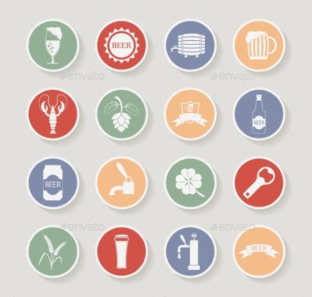 round beer icon set