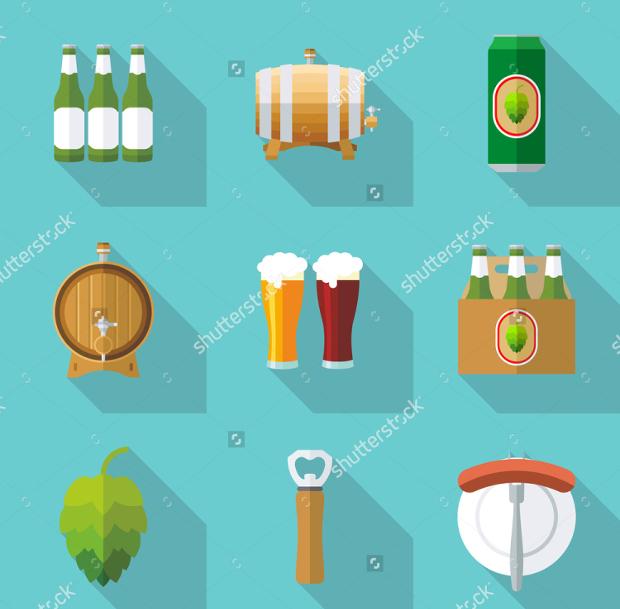 Modern Flat Beer Icon Set