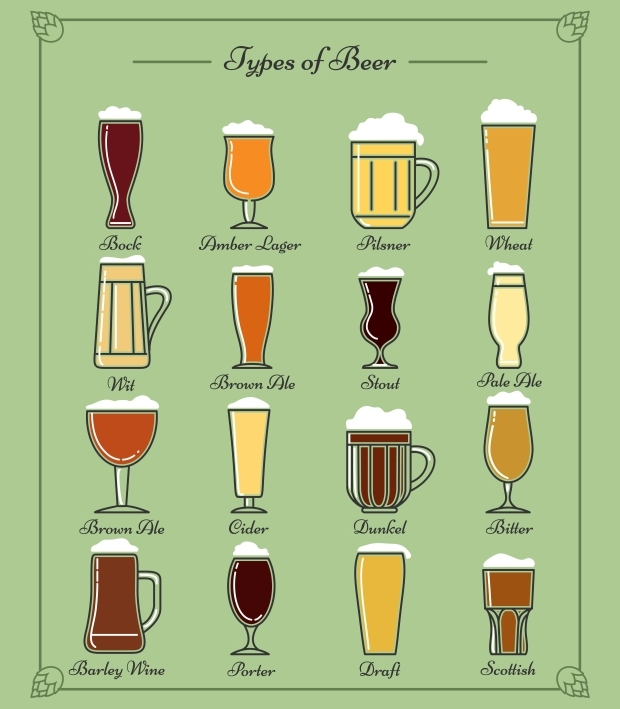 Types of Beer Line Icons