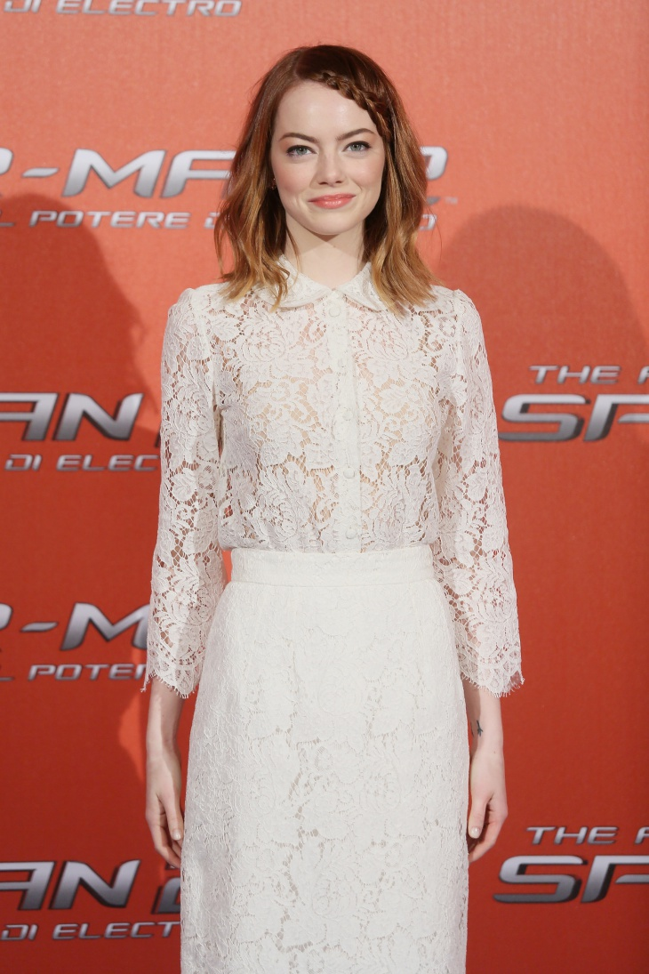 emma stone lace braid fringe hairstyle