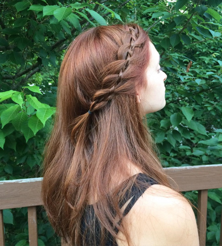 cool side lace braid hairstyle