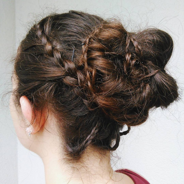 messy lace braided bun