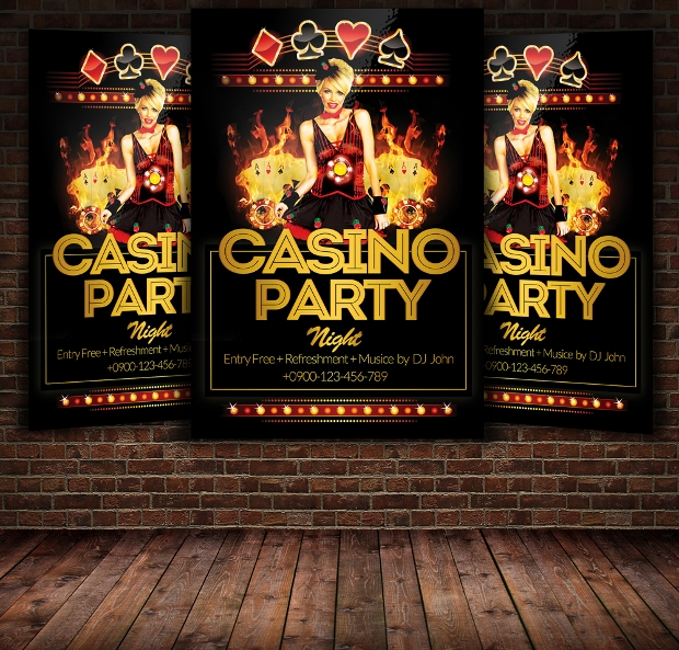 High Resolution Casino Party Flyer