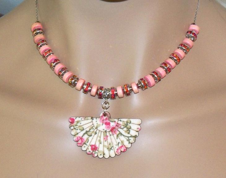 Pink Beaded Flower Pendant