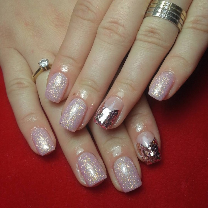 pink and gold sequin nails