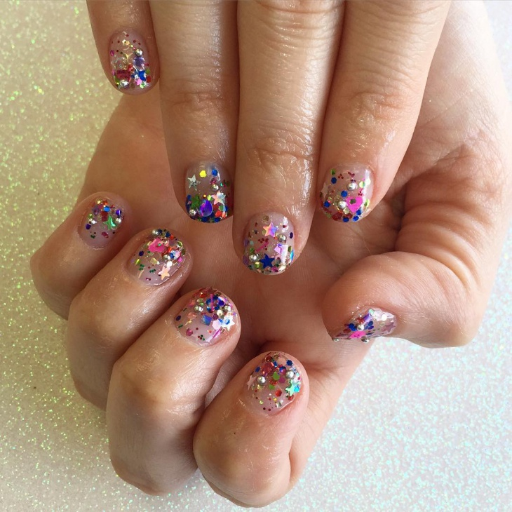 colorful sequin nail design idea