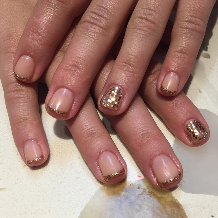 sequin nail art for short nails