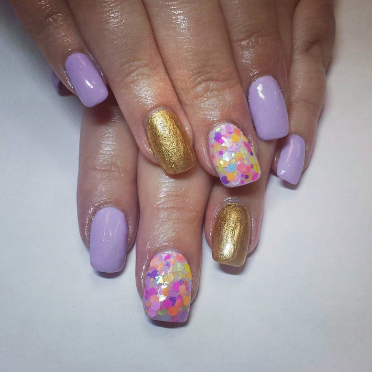 sequin rainbow nail art