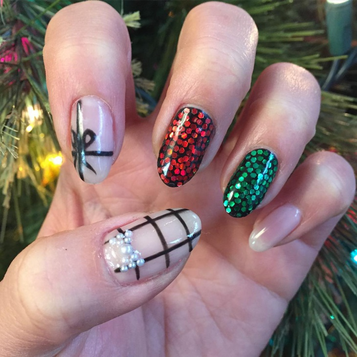 red and green sequin nails