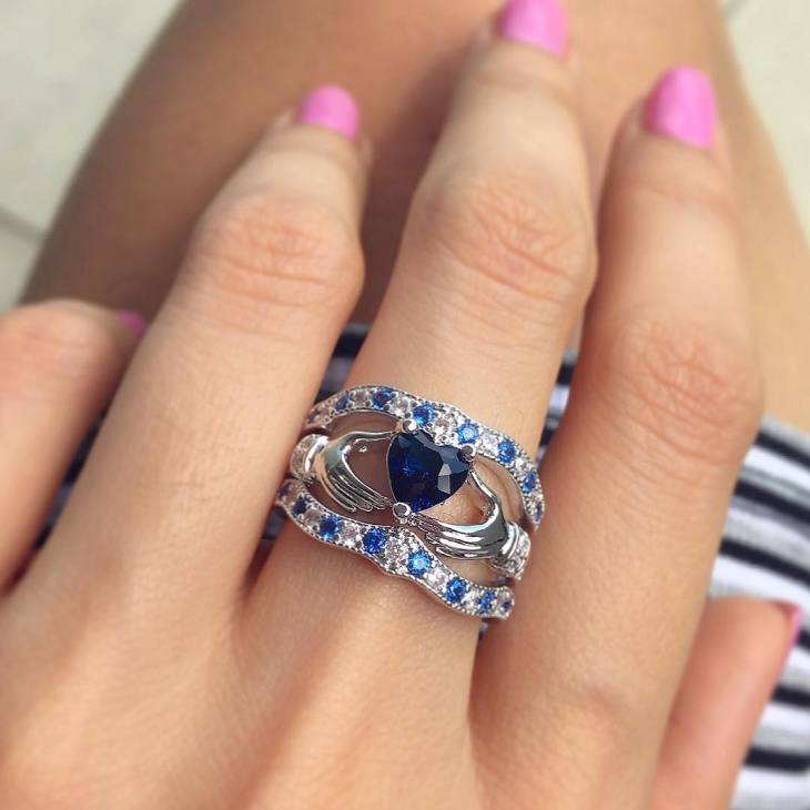 Sapphire Diamond Celtic Engagement Ring