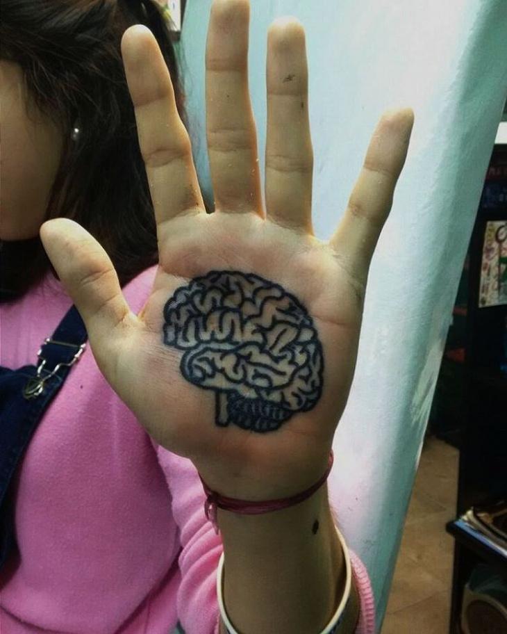 Brain Tattoo Designs on Palm