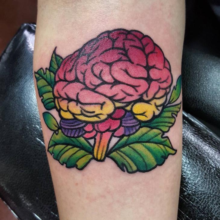 colorful brain tattoo idea