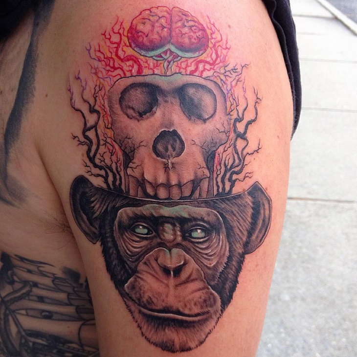 Skull and Monkey With Brain Tattoo