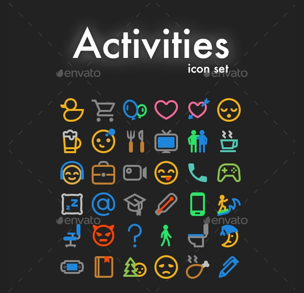Multicolored Activity Icons Set