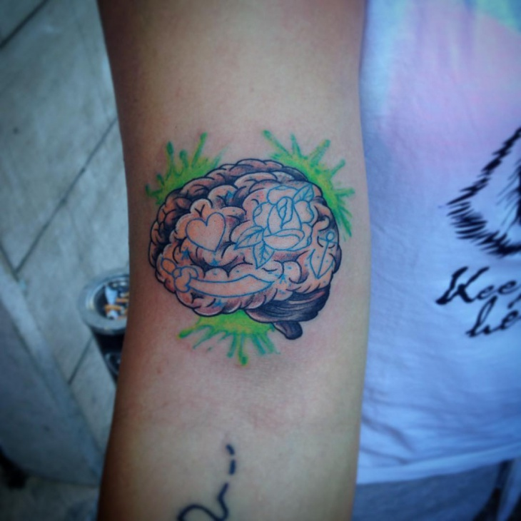 neo traditional brain tattoo