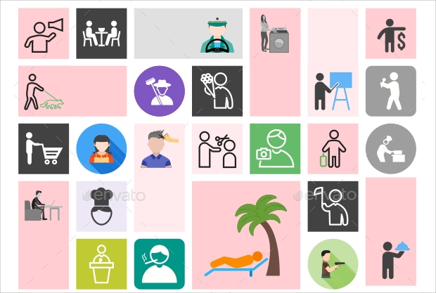 Colorful Activity icons Set