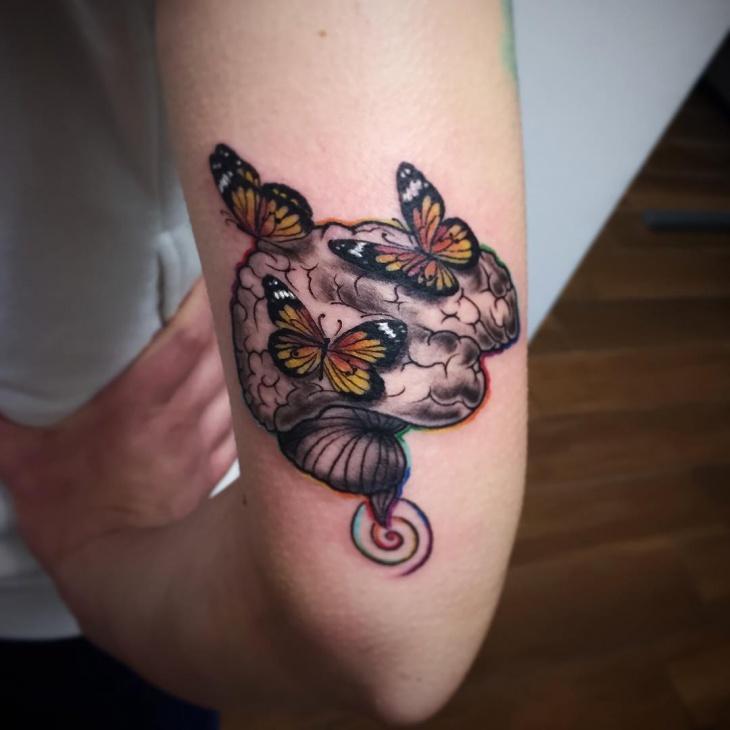 Butterfly Brain Tattoo