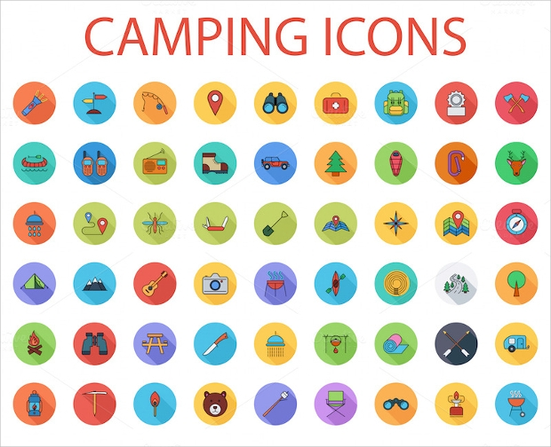 Flat Camping Icons Collection