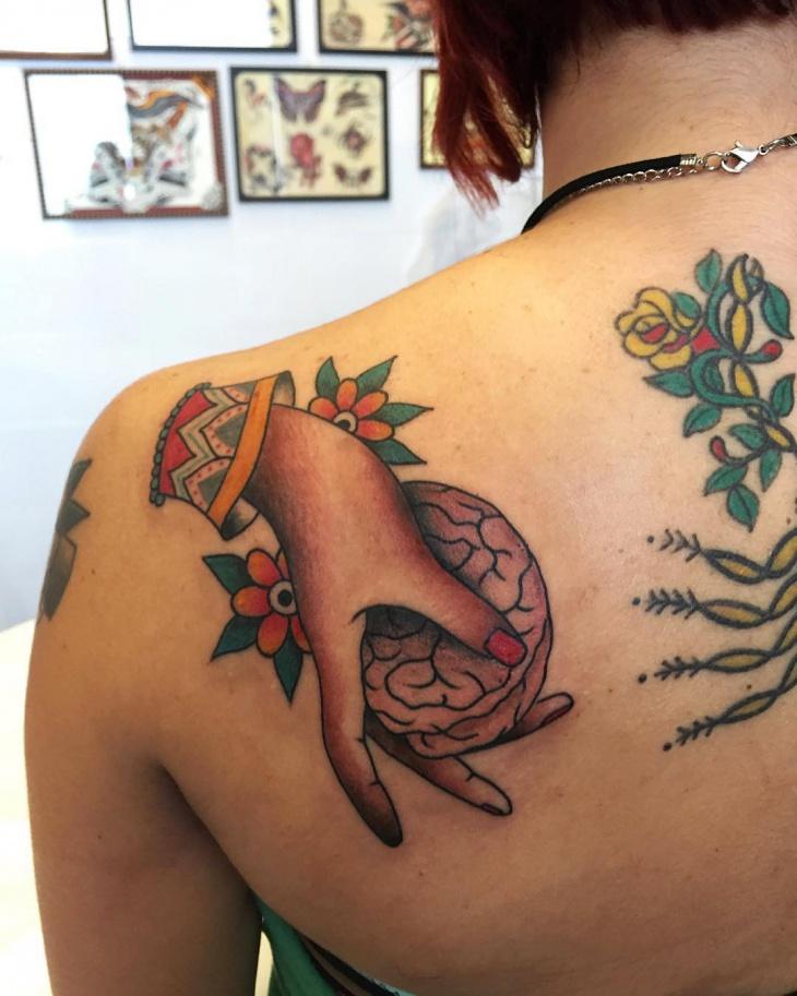 brain tattoo design for shoulder
