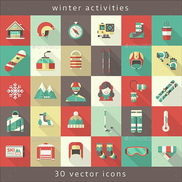 Winter Sport and Activity Icons