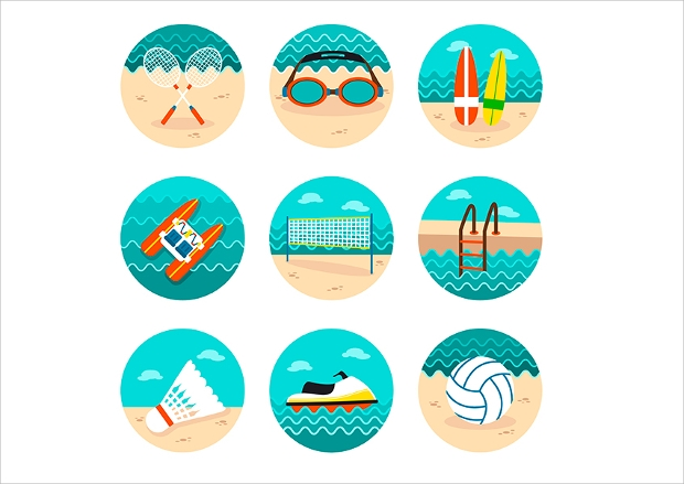 Beach Activity Icons
