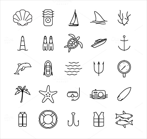 Diving and Water Activities Icons