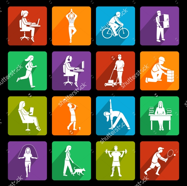 colorful Physical Activity Flat Icons
