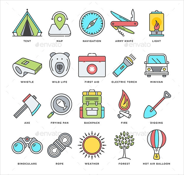 Camping and Outdoor Activity Icons