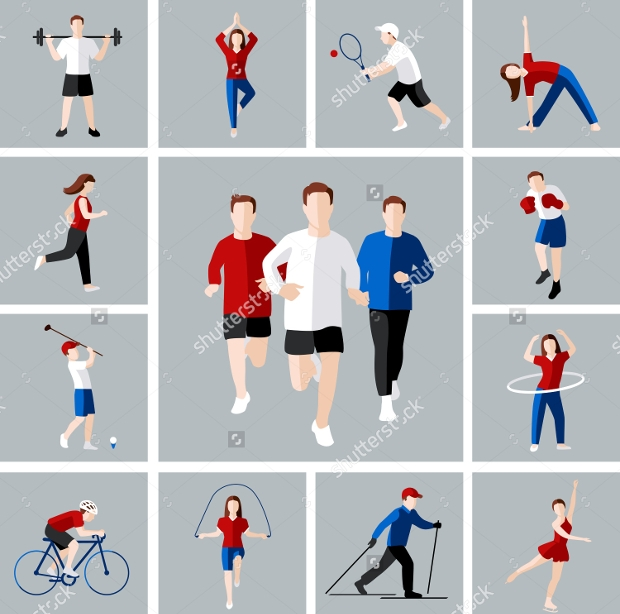 Leisure People Activities Icon Set