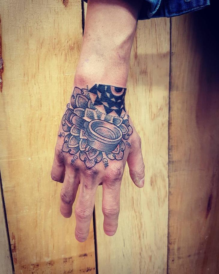 Coffee Cup Tattoo on Palm